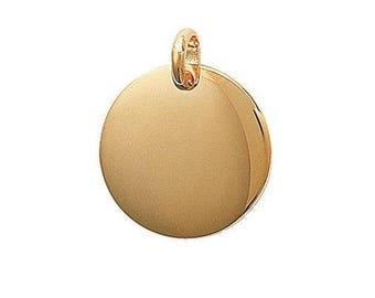 Pendant engraved round medal 20 mm thick plated gold