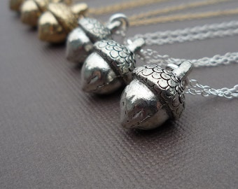 golden or silver acorn charm necklace gift for her
