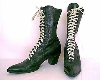Vintage 1910 to 1920s Suffragist Black High Top Boots with White Lacing  and Stacked High Heel