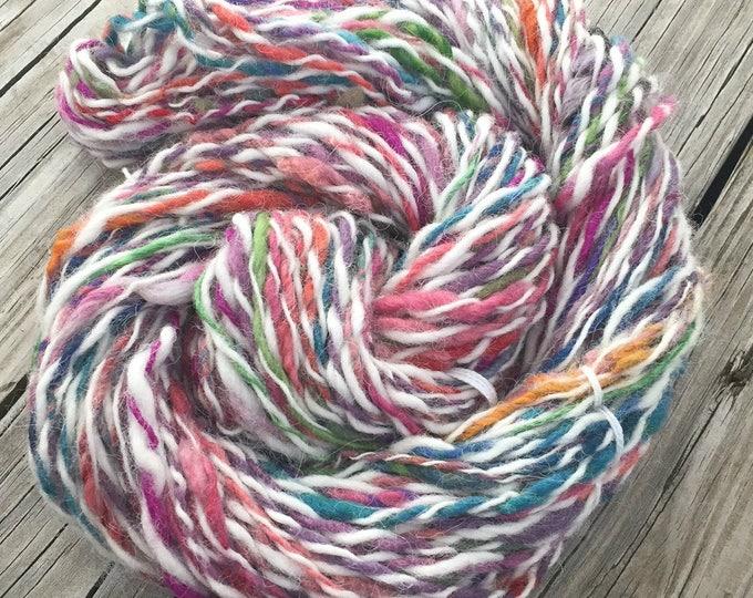 Fruit Stripe Gum Colorway Handspun Yarn Bulky 2 ply wool yarn FiberTerian 74 yards cream pink teal green red burgandy orange