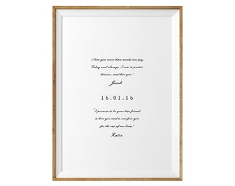 Valentines Day Gift. Wedding Vows Keepsake Print for Newlyweds & Anniversaries - Love Sayings