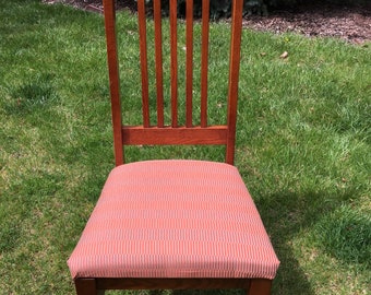 Stickley Style Highback Chair with Upholstered Seat in Orange-Rust Tone Fabric
