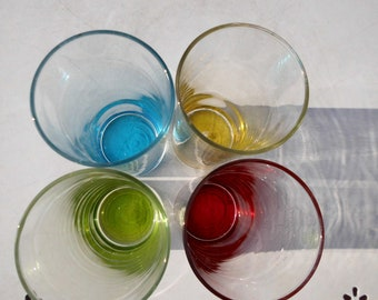 4 vintage glasses- Colorful vintage glasses