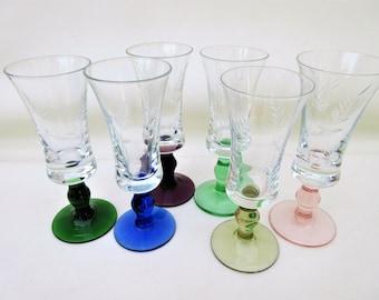 Vintage Etched Glasses | Cocktail Glasses | Liquor Glasses Set | Pedestal Glasses | Cordial Glasses | Multicolor Stemware – Set of 6
