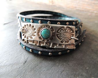 Silver and Turquoise Bracelet, 5 Times Wrap Blue Studded Leather, Southwest Style, Silver Sun Link, Silver Bezel Turquoise, Artisan Jewelry