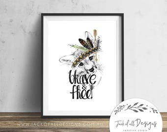 Tribal Fox - Brave and Free - Wall Art Print