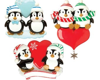 Penguin Couple w/Heart Assortment (4 of each) Personalized Christmas Ornament each sold separately