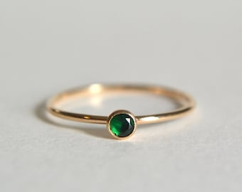 Gold Emerald Ring, Gold Filled Emerald Ring, Emerald Ring Gold, Stacking Ring, Dainty Ring, Stackable Ring, Stacking Ring