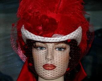 Victorian Hat, SASS Hat, Riding Hat, Valentine's Day Hat, White & Red Hat, Kentucky Derby Hat, Cocktail Hat - Spirit of St. Moreno Valley