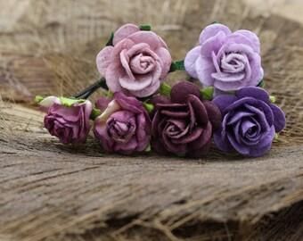 Purple Mulberry Paper Flower Hair Pins , Bridal Hair Pins, Hair Bobby Pins,U pins,Prom,Bridal Hair Accessories (FL206)