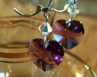 Purple Heart Earrings in Swarovski