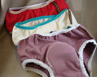 Bamboo and/or Cotton Toddler Training Underwear with Waterproof Pad - Girls Set of 3 - Choose Your Colors