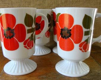 V I N T A G E Retro Set of Four Footed  Orange Oriental Poppy Cups - Japan
