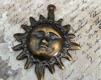 Celestial Sun Pendant - Aged Brass - Bronze - Greek Casting - 45mm x 40mm - Astronomy - Hippie - Bohemian - Central Coast Charms