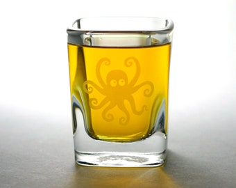 Octopus Shot Glass - etched shot glass