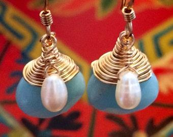 SALE Fresh Water Pearl and Aventurine Earrings