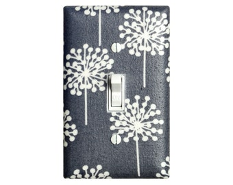 Dandelion Nursery Decor / Gray and White Light Switch Plate / Baby Gender Neutral / Seed Heads in Gray