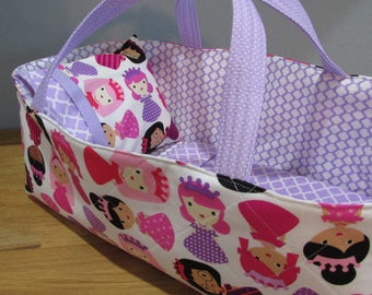 Doll Carrier, Will Fit Bitty Baby and Wellie Wisher Dolls, Princess Fabric with Lavender Lining, 16 Inches Long, Doll Basket