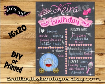 First Birthday Chalkboard sign girl 1st birthday princess chalk board photo prop customized first birthday poster digital file or printed