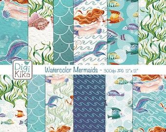 Watercolor Mermaids Digital Papers, Mermaid Scrapbook Paper - Mermaid Papers - Mermaid Pattern - Under the sea Background - INSTANT DOWNLOAD