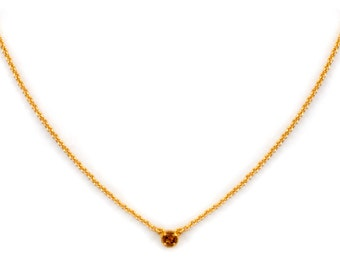 Dainty Gemstone Necklace - Delicate Gold Chain Necklace - Citrine Necklace - Birthstone - Tiny Gemstone Necklace - Layering Necklace