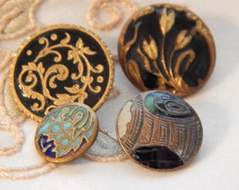 Enamel Buttons - 4 Different Patterns and Color