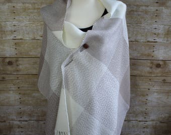 Tan and Cream Bold Block Pattern Hand Woven Shawl, White Woven Shawl, Taupe Woven Shawl