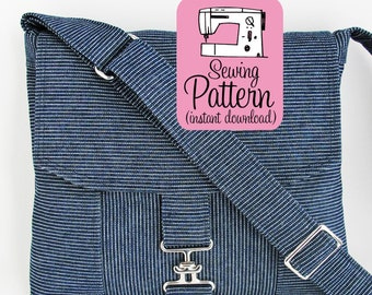 Messenger Bag PDF Sewing Pattern | Intermediate sewing project to make a cross body mail bag with two pockets and an adjustable strap.