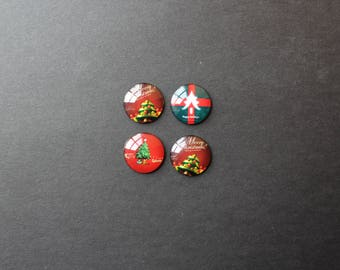 Cabochons 25 mm glass Christmas red / green