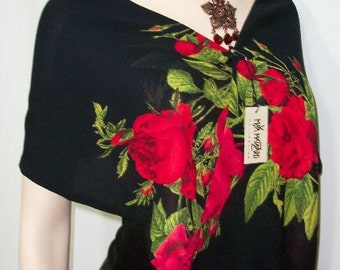 American Red Rose Scarf Georgette with Fringes Maya Matazaro USA Made