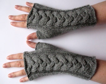 "Fingerless Gloves Long Dark Gray 8"" Mittens Arm Warmers, Acrylic"