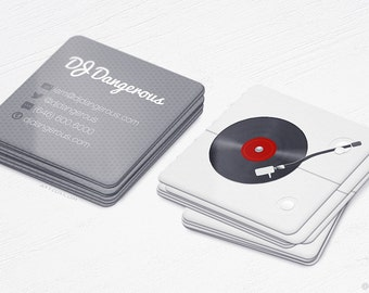 Mini DJ Turntable Cards - Realistic - Square Business Cards - Design and Printing - 250, 500, 1000, 2500 | FREE Shipping |