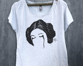 Princess Leia RIP Carrie Fisher Dolman Scoop Tee-Star Wars-Graphic-T-shirt