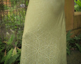Sage long skirt, maxi skirt, dress skirt, high waist skirt, flower of life print skirt, long flowing skirt, gypsy skirt, festival skirt,