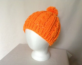 Blaze Orange Cable Hat with Pom Pom