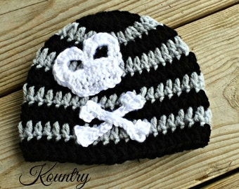 Infant Crochet Skull and Crossbone Hat/Baby/Newborn/Adult/Beanie/Skull Hat/ Crossbones/ Women / Men(Ready to Ship)