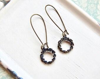 Lauren II - wreath earrings in antique brass - hoop earrings - graduation - brass wreath earrings - laurel wreath