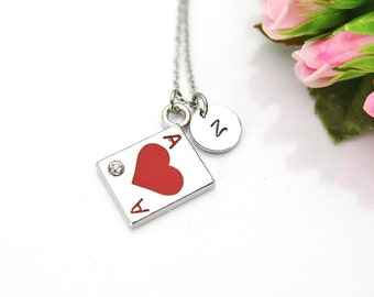 Ace of Club Necklace, Ace Card Charm, Play Card Ace of Heart Charm, Poker Charm, Poker Player Gift, Personalized Gift, Best Friend Gift, N31