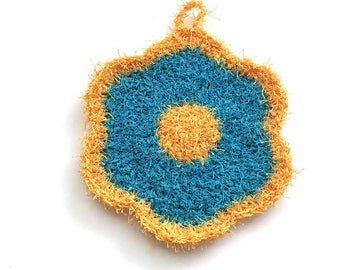 Flower Dish Scrubby, Dish Scrubbies, Yellow/Aqua Crochet Scrubbies, Pot Scrubber, Eco Friendly Kitchen Scrubby, Stocking Stuffers