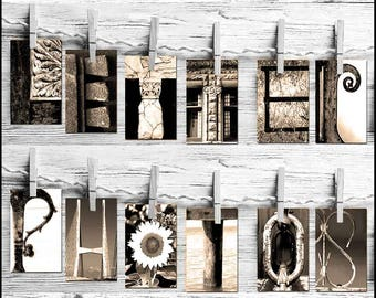 Name Art DIY Photos * Letter Art * 4x6 Letter Photographs * Free Proof Before Purchase * Sepia Photos * Alphabet Photos * Free Shipping *
