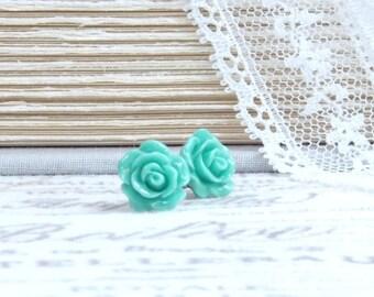 Green Rose Studs Green Stud Earrings Green Flower Studs Surgical Steel Earrings Green Rose Jewelry
