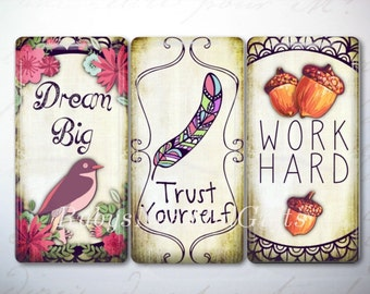 Glass Tile Magnets,  Fridge Magnets, Magnets, Birthday Gift, Best Friends Gift, 1x2 Inch Domino Magnets,Set of 3, Inspirational 3.