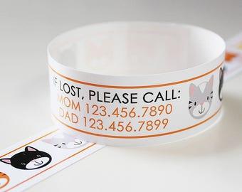 Custom Vinyl Kitty ID Bracelets - Personalized ID Bands - #Kids #Travel #Safety #Medical