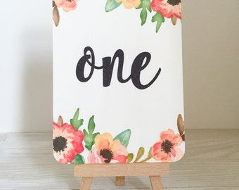 Wedding table number cards - rustic table number cards - bright floral table number cards