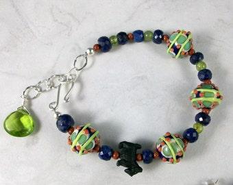 Talavera Lampwork Glass, Sapphires and Peridot OOAK Scottie Adjustable Bracelet and Earring Set - B-146ss