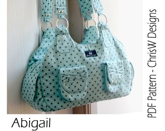 """INSTANT DOWNLOAD Handbag sewing pattern - PDF- """"Abigail"""" Advanced designer Purse with lots of pockets"""