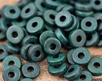 8mm Washer Round - Dark Green - Mykonos Greek Ceramic Beads - QTY: 50, 100 or 150