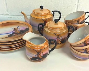 Chikaramachi Japanese Tea Set Dessert Service Made in Japan Orange Lustre Luster Windmill Tea Pot Creamer Sugar Cups Saucers Dessert Plates