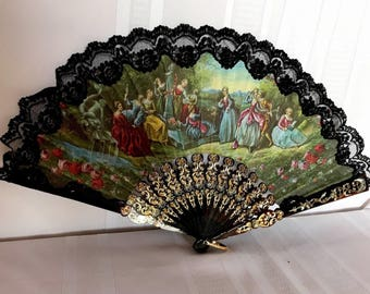 Vintage Figural Print on silk Folding Fan with Black Lace