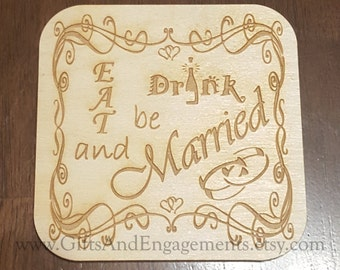 Eat Drink and Be Married Coaster - Set of 6